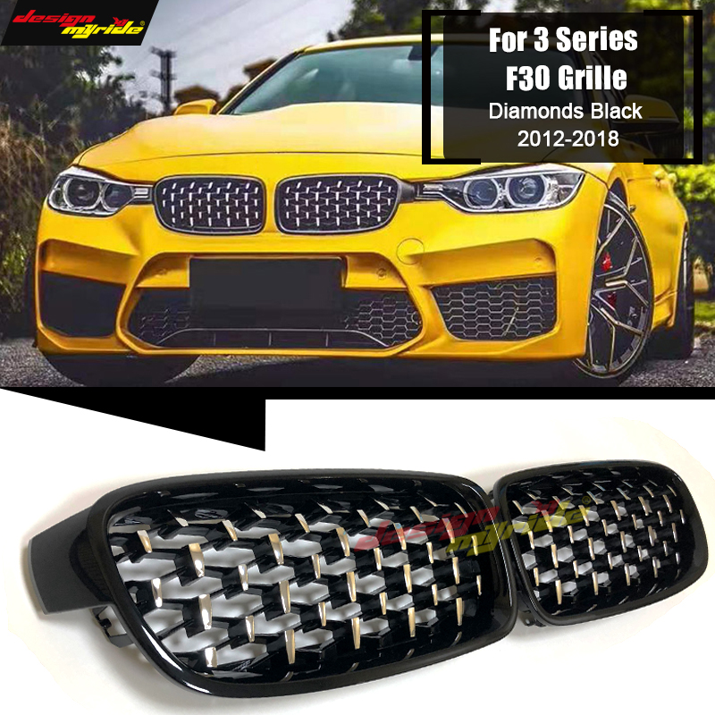 For BMW F30 Saloon Kidney Grille Grill Diamonds ABS Gloss Black M3 Look Sports 3 Series M Performance Front Kidney Grills 12 18 in Racing Grills from Automobiles Motorcycles
