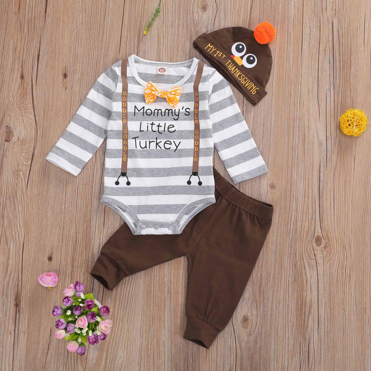My 1st Thanksgiving Baby Boy Outfits Long Sleeve Romper Bodysuit Stripe Turkey Pants Clothes Set