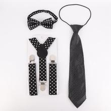 3 шт., повседневные модные детские Эластичные аксессуары в горошек для детей, студентов, галстук-бабочка и галстук, комплект одежды