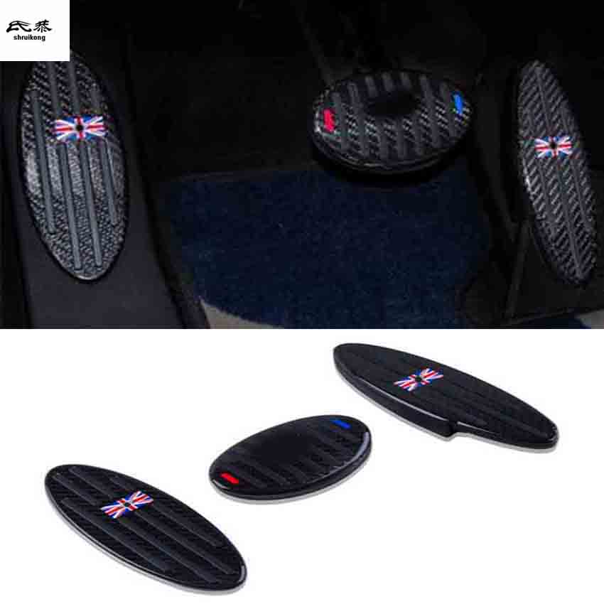 1lot Aluminum alloy carbon fiber Accelerator brake Foot Rest Pedal Pad for MINI COOPER S countryman CLUBMAN R55R56 R57 R58 R60
