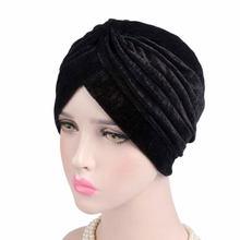 2019 neue Mode Stil Neon Casual Doppel Stretch Samt Turban Headwrap Turban Hut Frauen Gold Samt Hijab Headwear Moslemische Hüte