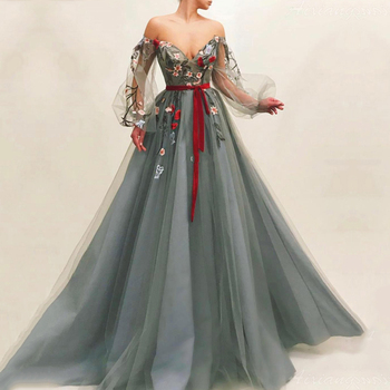 Gray Muslim Evening Dress 2019 Off Shoulder Embroidery Tulle Islamic Dubai Kaftan Saudi Arabic Long Sleeves Gown Prom - discount item  40% OFF Special Occasion Dresses