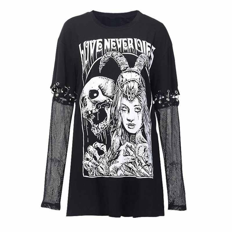 Huruf Taro Dicetak T-shirt Wanita Hitam Gothic Punk Goth Atasan Kasual Hip Hop Lengan Panjang Dilepas Mesh Top 2019 Wanita fashion