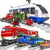 Ausini City Train Station tory kolejowe lokomotywa Wagon Cargo Carriage technika Wagon Power zestaw modeli klocki budowlane zabawka prezent