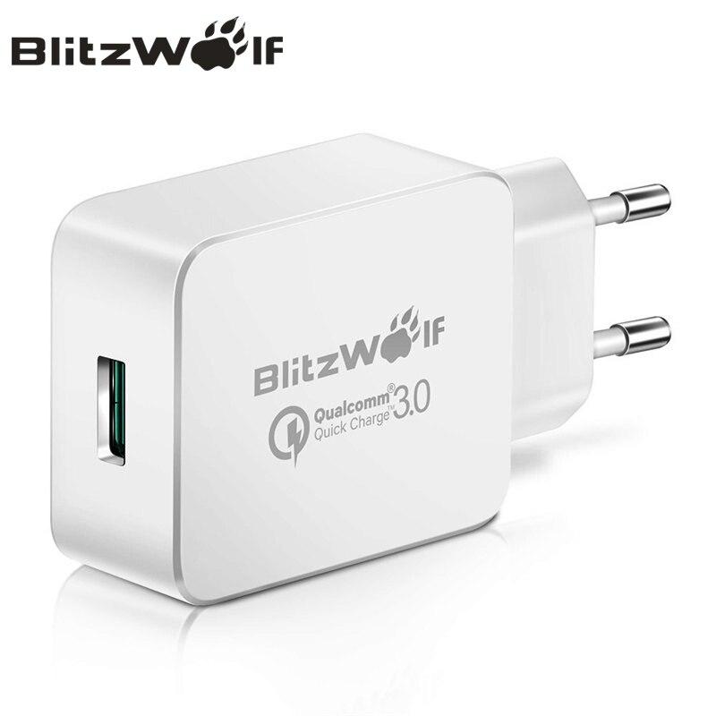 Blitzwolf 18 w plugue da ue carga rápida 3.0 viagem carregador de parede telefone universal adaptador para micro usb tipo c para iphone xiaomi huawei