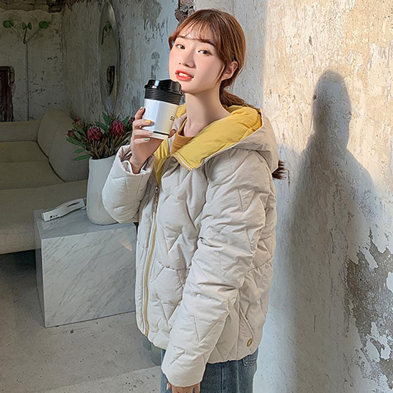 2019 Winter New Short Jacket Women Standing Collar Female Hooded Coat_A8_9