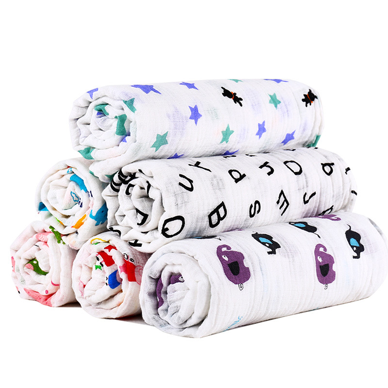 100% Cotton Baby Swaddles Soft Muslin Newborn Blankets Bath Infant Gauze Wrap Sleepsack Stroller Cover Play Mat KF673