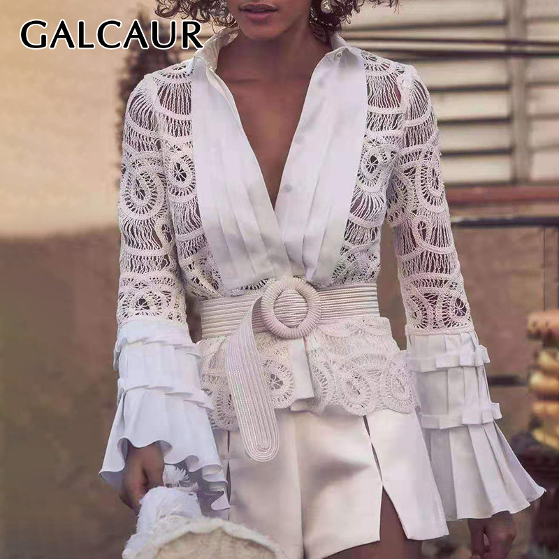GALCAUR Vintage Hollow Out Perspective Lace Blouses Women Lapel Collar Flare Sleeve Large Size Shirts Female Fashion 2020 New
