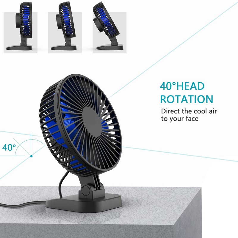USB Desk Fan, Small but Mighty, Quiet Portable Fan for Desktop Office Table, 40° Adjustment for Better Cooling, 3 Speeds, Cord