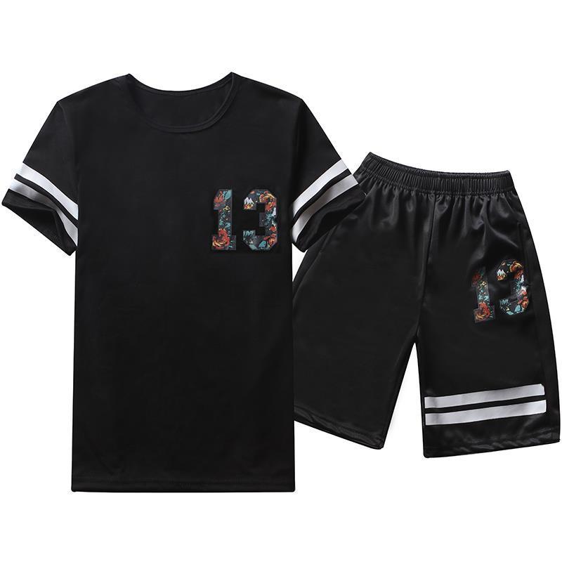 2019 Summer New Style Men Short Sleeve T-shirt Suit Men's Casual Sports Versatile Round Neckline T-shirt Shorts Two-Piece Set
