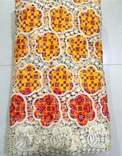 New chemical African guipure lace mix wax cotton fabric with beads/stones for wedding Wholesale &retail-N8850