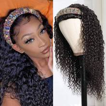 Headband Wig Human-Hair Curly Remy Black Full-Machine Natural-Color Women Indian