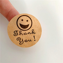 100pcs/lot Lovely Smiley Face Thank you Round Kraft Paper Color Sealing Paste Baking Biscuit Bag Decorative Seal Sticker