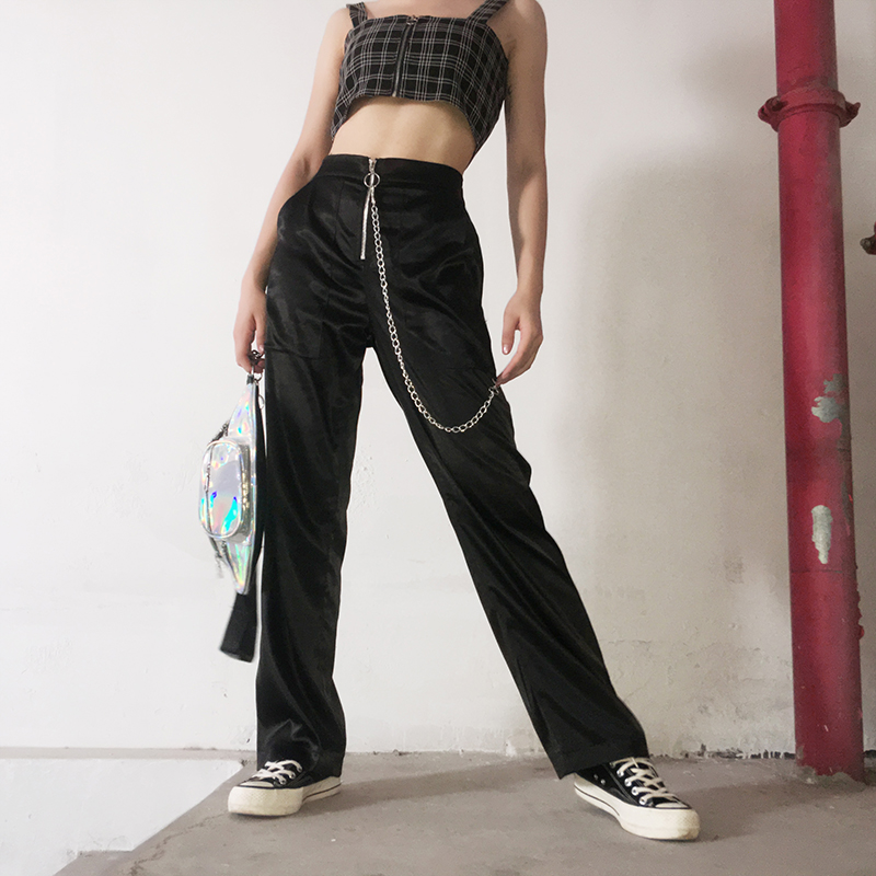 Hip Hop Dance Costumes Female Adult Black Satin Chain Zipper Design Tide Pants Jazz Street Dancing Wear Stage Trousers DT1462