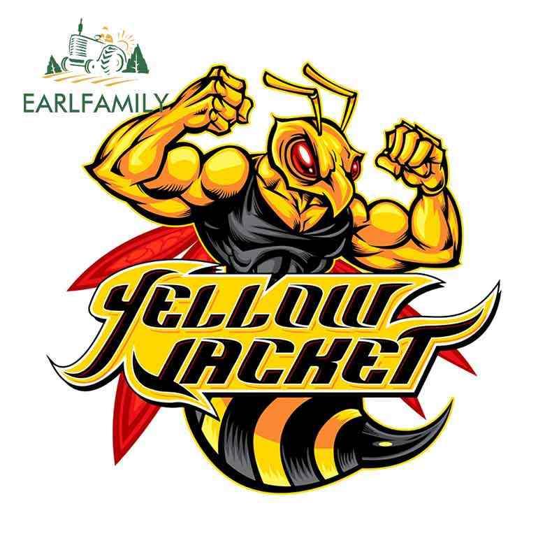 Earlfamily 13 センチメートル × 12.1 センチメートル黄色ジャケットロゴ車のステッカーとデカールビニール車ステッカー diy 閉塞スクラッチアニメ 3D 装飾