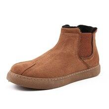 Мужская зимняя обувь; зимние ботинки из искусственной замши; Мужская обувь; теплые плюшевые зимние ботинки на меху для мужчин; недорогие ботильоны без застежки