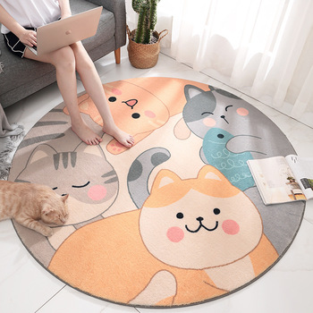 Home Round Carpet Cartoon Cute Kitten Child Non-slip Crawling Carpet Living Room Bedroom Round Mats Can Be Customized недорого