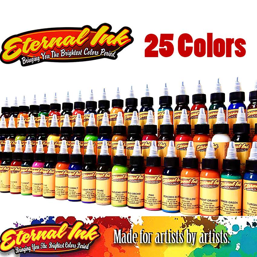 (25 Color Tattoo Ink Set)Tattoo & Body Art Permanent Makeup Pigment Color Tattoo Ink Sets 1 Oz Body Paint