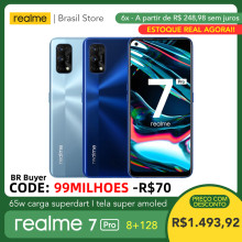 Realme 7 pro 8gb ram 128gb rom-65w carga superdart | snapdragon 720g | tela super amoled | impressão digital in-display