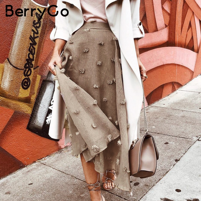 BerryGo A-line Chiffon Flower Embroidery Skirt Women Autumn Winter Female Long Skirt Lining High Waist Ladies Bottom Skirt 2019