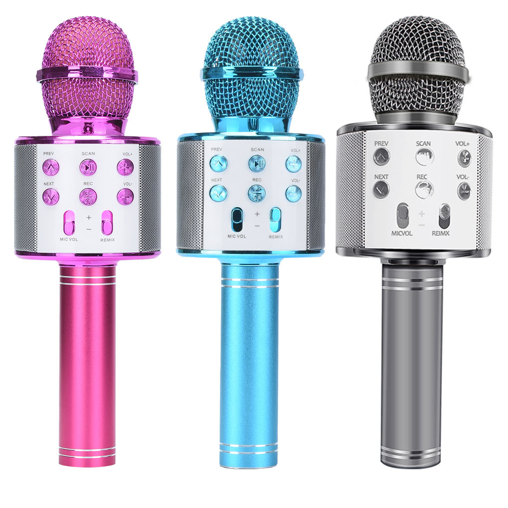 Портативный Bluetooth микрофон для караоке WS858, беспроводной Профессиональный динамик, ручной микрофон KTV для дома