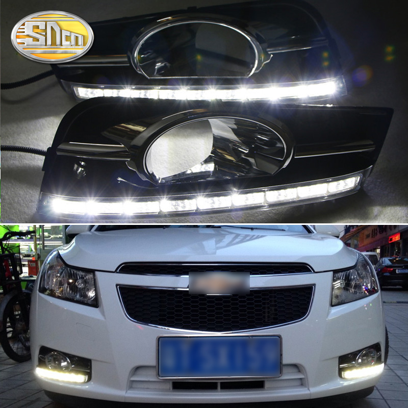 SNCN 2PCS LED Daytime <font><b>Running</b></font> <font><b>Light</b></font> For <font><b>Chevrolet</b></font> <font><b>Cruze</b></font> 2010 <font><b>2011</b></font> 2012 Car Accessories Waterproof 12V DRL Fog Lamp Decoration image