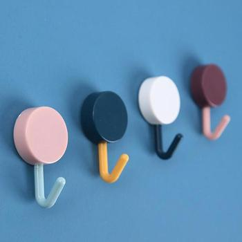 1pcs Random Color Small Hook Strong Viscose Refrigerator Wall Hook Free Punching Seamless Hook Bathroom Kitchen Multi-scene Hook image