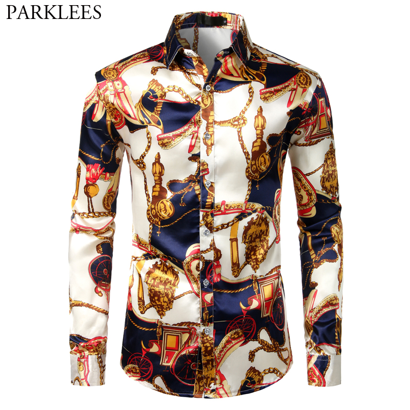 Men's Luxury Printed Silk Satin Shirts 2019 Brand Slim Fit Long Sleeve Dress Shirts Men Baroque Style Shirt For Stage Party Prom