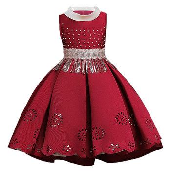Dziewczynek sukienka przyjęcie noworoczne suknie wieczorowe elegancki koralik Tassel Princess Dress suknie balowe suknie ślubne dla dzieci dla dziewczynek tanie i dobre opinie Children Girls regular China O-neck CHUNMU Floral Kolan Bez rękawów CN (pochodzenie) Kwiaty dress for girls COTTON Pasuje prawda na wymiar weź swój normalny rozmiar