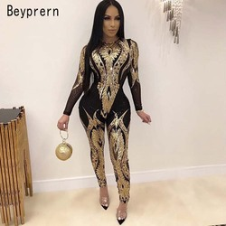 Beyprern Vintage Overlay Sequins Jumpsuits Womens Glitter Sequins Long Sleeve Skinny Romper Bodysuit Club Overalls Plus Size
