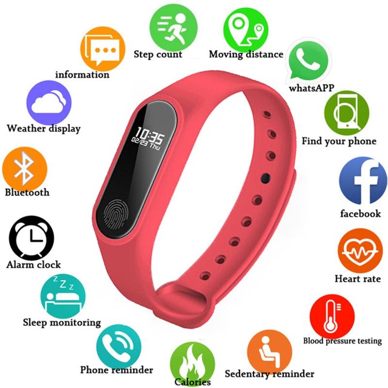 Sport Bracelet Watch Women Men Waterproof Smart Wrist Band Heart Rate Blood Pressure Pedometer Watch For Android IOS Clock Reloj
