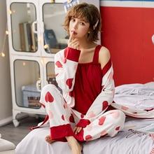 BZEL Baumwolle Pyjamas Set Für Frauen Rot Liebe Nachtwäsche Cartoon Femme Nighty Casual Homewear Loungewear 3 Stück Sets Pijamas Pyjama