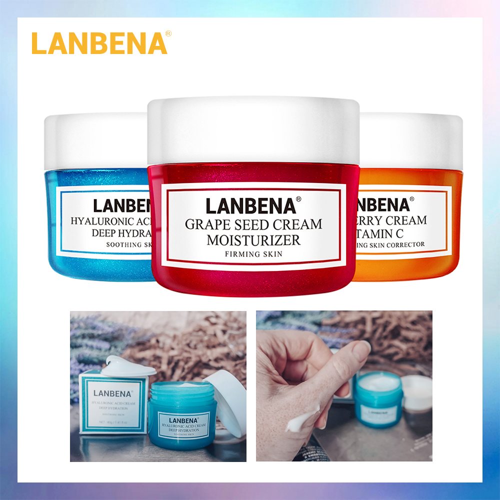 LANBENA Face Cream Whitening Cream Hyaluronic Acid Moisturizing Anti Wrinkle Anti Aging Vitamin C Serum Acne Treatment Skin Care