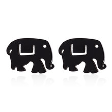 Lucky Elephant Stud Earrings Indian Style Stainless Steel Animal Jewelry Women Girls Casual Dress punk jewelry fashion earring(China)