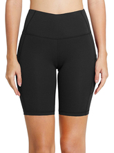 Womens 8 Inch High Waist Workout Yoga Running Compression Exercise Seamless Fitness Shorts Leggings Side Pockets checked panel side leggings shorts
