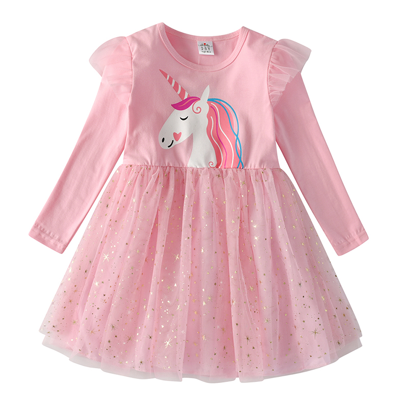 VIKITA Kids Long Sleeve Dresses for Girls Party Dress Star Printed Birthday Tutu Dresses Children Casual Wear Princess Vestidos 17