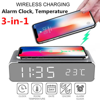 USB Digital 12/24H LED Desk Alarm Clock Wireless Charger For Samsung for Xiaomi for Huawei for iPhone 8 X for Apple Thermometer