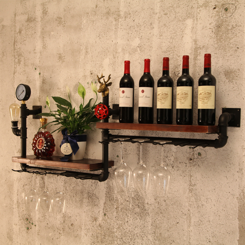 Loft Retro Industrial Style Bar Wine Rack Wall Hanging Dining Room Bar Iron Solid Wood European-style American Shelf CF