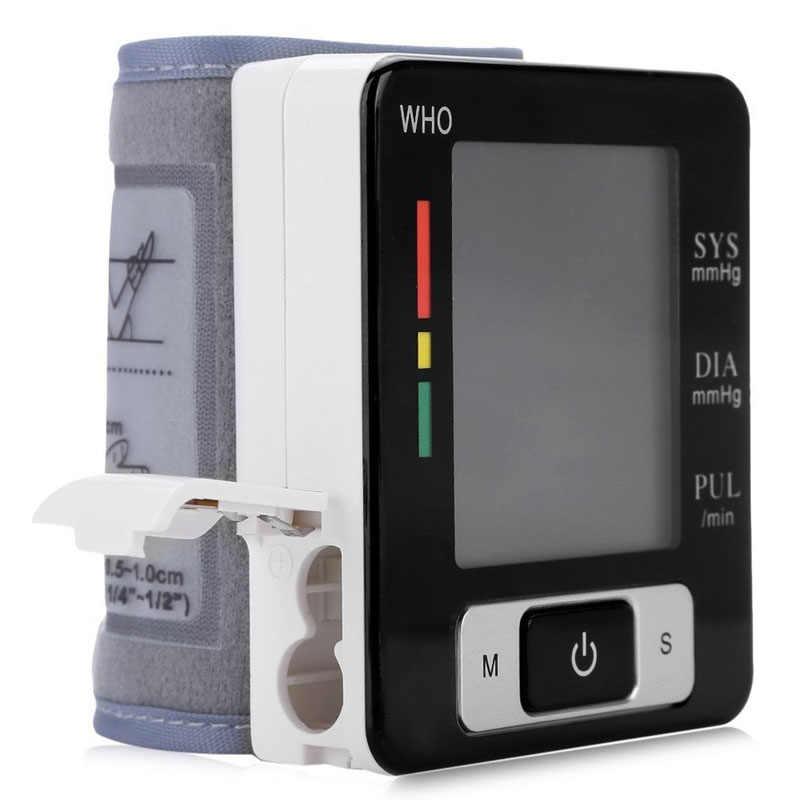 อัตโนมัติสมาร์ทข้อมือ Sphygmomanometer Presure เลือด Meter Monitor Heart Rate Pulse แบบพกพาเครื่องวัดความดันโลหิตแบบพกพาเครื่องวัดความดันโลหิตปรอทเครื่อง BP