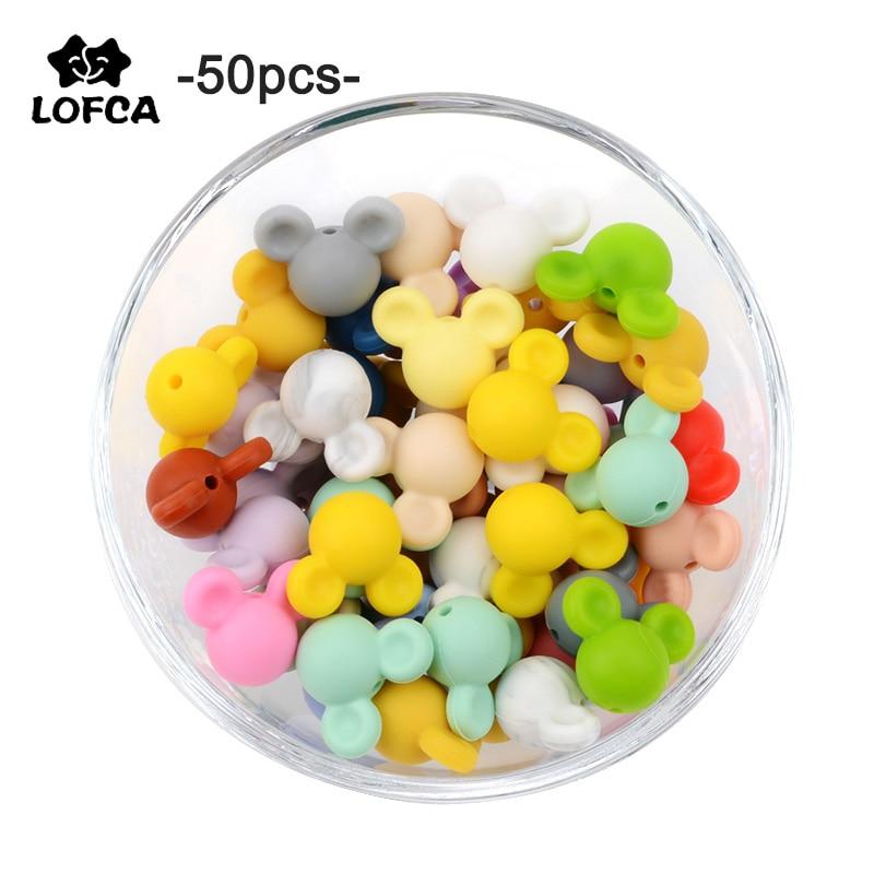 LOFCA 50 stücke silikon zahnen Maus Perlen Baby Beißring perlen Food Grade Silikon Perlen BPA Frei DIY Halskette Anhänger Herstellung