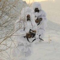 3D Snow White Camouflage Hunting Outfit Winter Camo Airsoft CS Clothes Jacket Pants Cap Gun Cover Bag 5 PCS Set Ghillie Suit