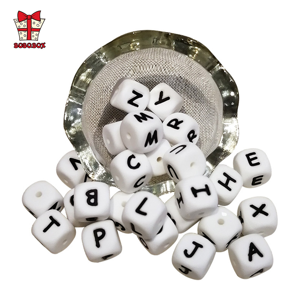 BOBO.BOX 10pc Letter Silicone Beads 12mm Baby Teething Beads Chewing Alphabet Bead For DIY Personalized Name Teether Necklace