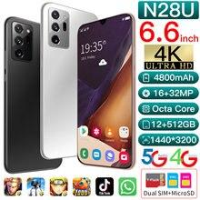 Teléfono Inteligente N28U de 6,6 pulgadas, móvil con pantalla completa de 12G-512 GB, Android 10, Snapdragon 865 +, cámara Dual de identificación facial, 4G, 5G, novedad