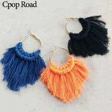 Cpop New Boho Handmade Weave Macrame Earring Bridesmaid Jewelry Ethnic Feather Fringe Fashion Tassel Earrings Women Accessories