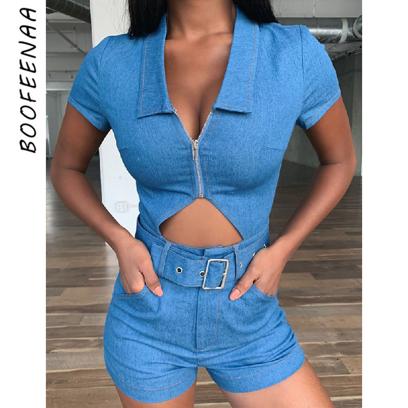 BOOFEENAA Blue Denim Short Rompers Womens Jumpsuit Summer 2020 Hollow Out Bodycon Romper Playsuit Fashion Clothes C55-BA40