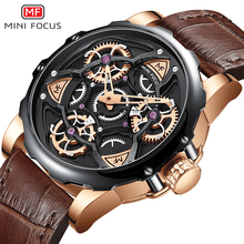 MINIFOCUS Fashion Creative Watch Men 30m Waterproof Luxury Brand Sport Clock Men's Wristwatches Brown Leather Strap reloj hombre carnival brand men wristwatches fashion luxury leather strap watch unique design style waterproof multifunction relogio reloj
