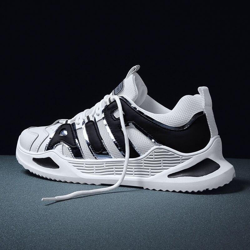Baskets décontractées pour hommes, chaussures d'été blanches hautes, confortables, en maille, chaussures de marche respirantes