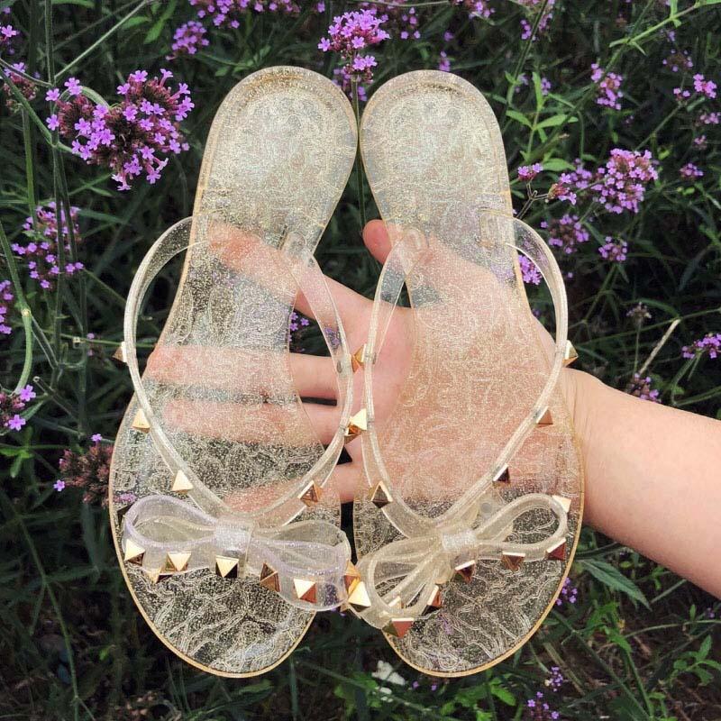 Rivet Bowknot Sandals Summer Woman Beach Flip Flops Jelly Shoes PVC Slides Girls Sandals Slip on Flat with Women Studs Slippers