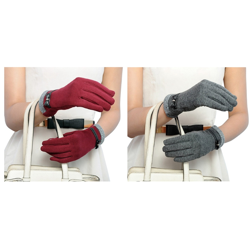 2 Pair Touch-Gloves Winter Warm Gloves Mittens For Touch-Screen, Gray & Red
