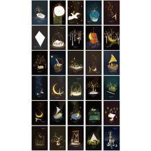 30 шт. винтажная светящаяся открытка светится в темноте Луна свет поздравительная открытка Новинка рождественские поздравительные открытки подарок
